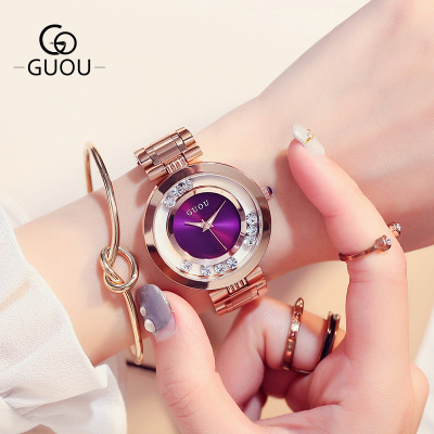 New GUOU Brand Rose gold Fashion Quartz Watch Women crystal Dress Watches Luxury Female Clock Lady Full Steel Waterproof Watch luxury brand new silver watch women fashion quartz wristwatches butterfly rose dial watches women dress quartz watch clock