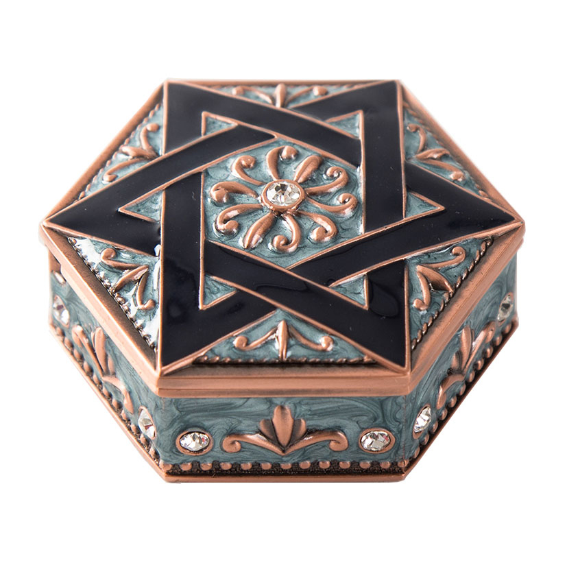 Hexagon Shaped Antique Copper Blue Jeweled David of Star Design Metal Jewelry Trinket Box