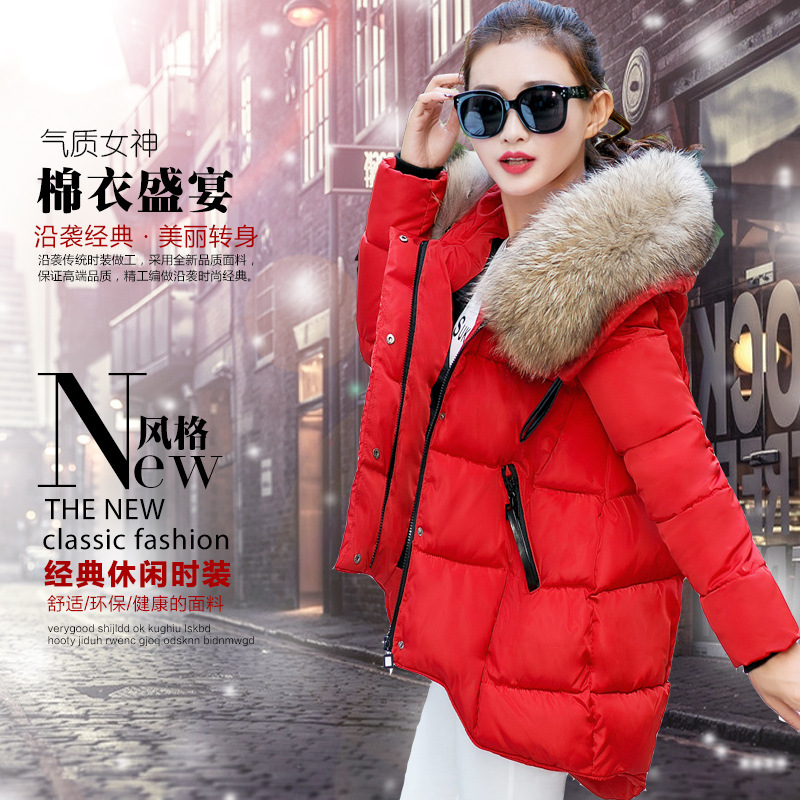 Han edition loose and comfortable big yards short cotton-padded clothes girls irregular hooded cotton-padded jacket coat 2015the new women s clothing han edition cotton padded clothes coat long big yards more loose tooling cotton padded jacket