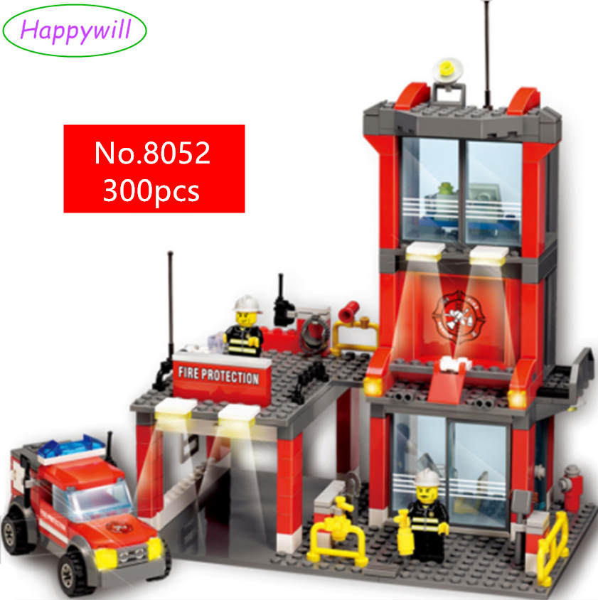 Happywill 8052 Fire Station Building Blocks Toys Compatible all brand city firefighter Toys Educational Brick 8052 kazi 300pcs fire station building bricks blocks sets christmas toys for children compatible lepine city firefighter rescue