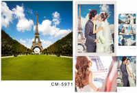 Eiffel Tower Photography Background For Wedding Photos Blue Sky With Green Glass Backdrops Background Studio Wedding