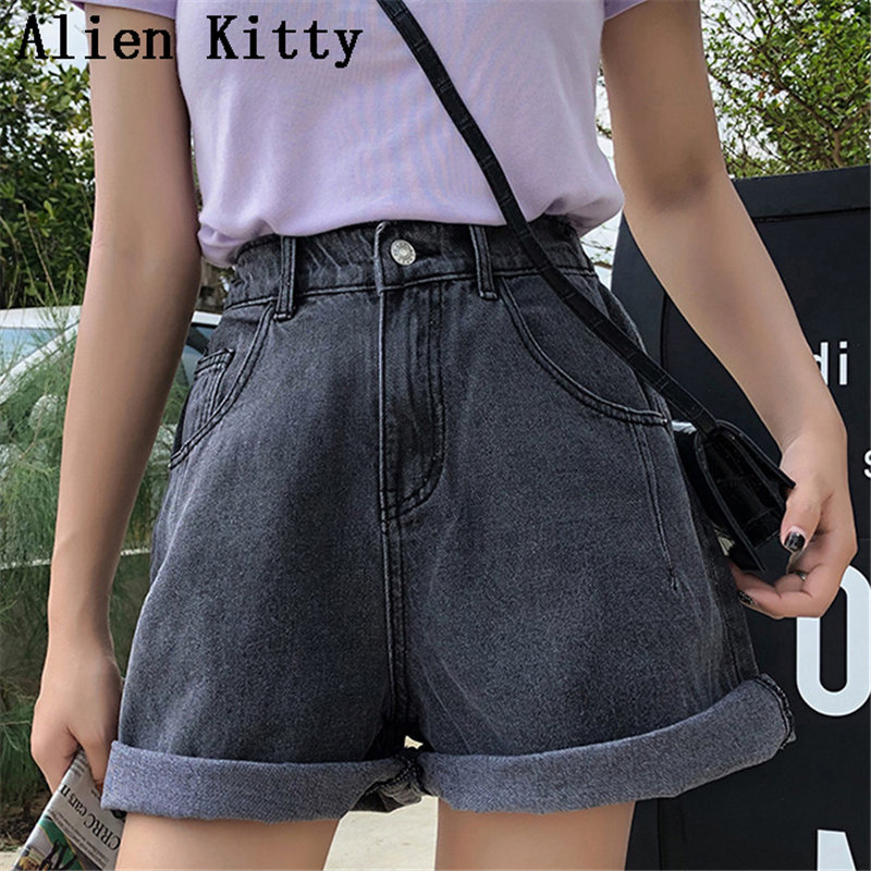 Alien Kitty Fashion Women Casual Curl Empire Loose Solid Fresh Thin Ladies Plus Summer Button Fly Pockets Denim Short 3 Colors