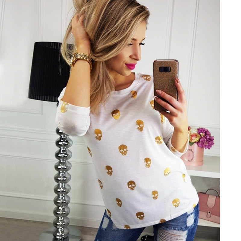T Shirt Women Streetwear Autumn Skull Bronzing Print Tops Fashion Casual Long Sleeve Round Neck Slim Tee Shirt Femme Clothes (5)