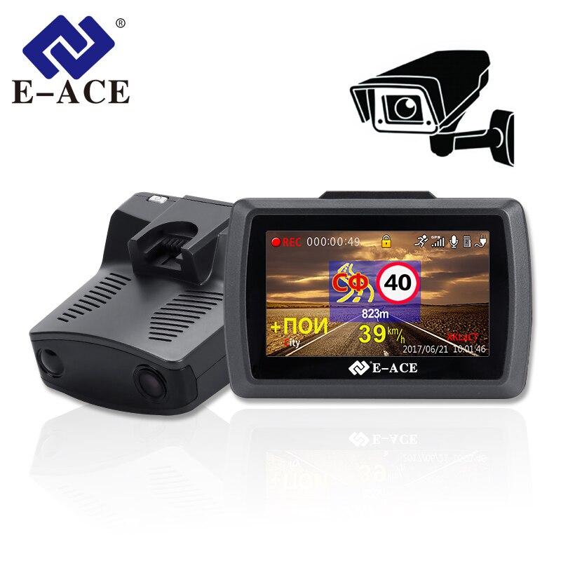 3 Em 1 E-ACE DVR GPS Detector De Radar Do Carro Gravador de Vídeo 1296 P Dashcam Visão Noturna Auto Camara ADAS Russa língua Secretário