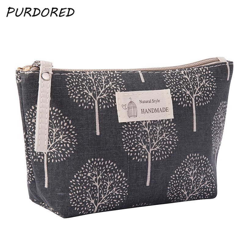 PURDORED 1 Pc Women Plaid  Cosmetic Bag Travel Makeup Bag Flower Make Up Bags For Cosmetic Beauty Organizer Dropshipping