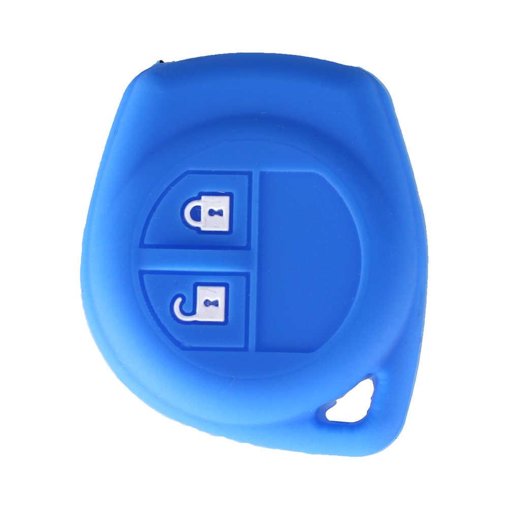 داندكي 2 أزرار سيليكون المطاط مفتاح غطاء لسوزوكي SX4 سويفت ليانا فيتارا جيمي ألتو إغنيس احترام البعيد فوب غطاء مفتاح الجلد