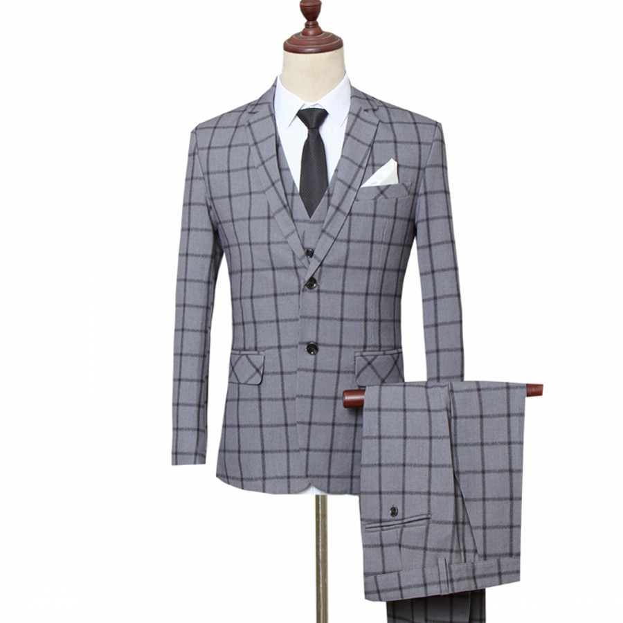 3pc Suit Men Fashion New Business Formal Wear Plaid Wedding Suits for Men Plus Size Slim Fit Gray Tuxedo Terno Masculino 5XL-M
