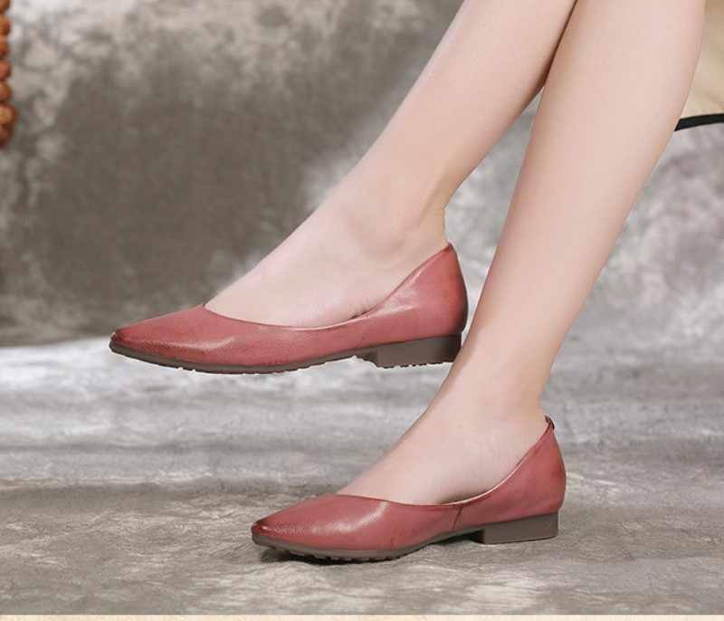 Nhà máy bán hàng trực tiếp 2018 phụ nữ mới của giày, mùa xuân, đồ cổ, đôi giày bằng phẳng, da sáp, giày của phụ nữ.
