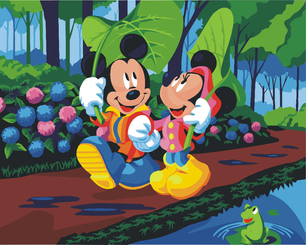 HQ Mickey Mouse Kartun Lukisan Dengan Nomor Cat Pada Kanvas