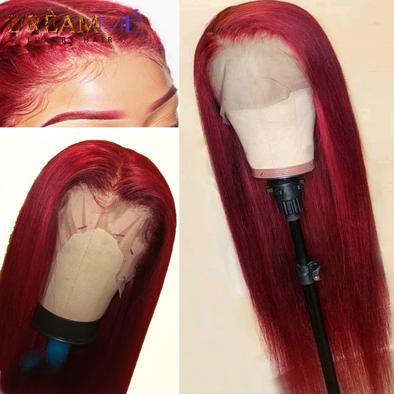 Straight Red Lace Front Human Hair Wig 13X6 Deep Part Burgundy Remy Hair Colored Wig For