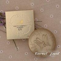 В ретростиле с изображением бабочки для макияжа компактная пудра основа, SPF15 натуральный консилер инструменты