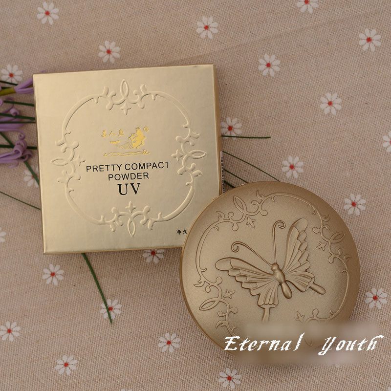 Retro Butterfly Make Up Compact Powder Base Foundation SPF15 Natural Concealer Tools image