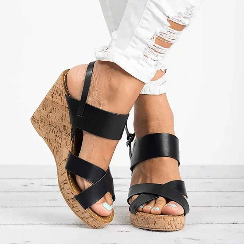 65c7b89aa43 Wedges Sandals 2019 Fashion Platform Sandals Women Shoes High Heels Female  Summer Ankle Strap Open Toe Chaussures Femme 35-43