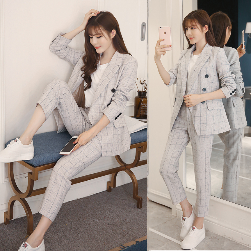 Women spring Two Piece Set Office Suit lattice Autumn Double Breasted Pink Long Jacket+Long Pant Suits Businness Work Wear Suits
