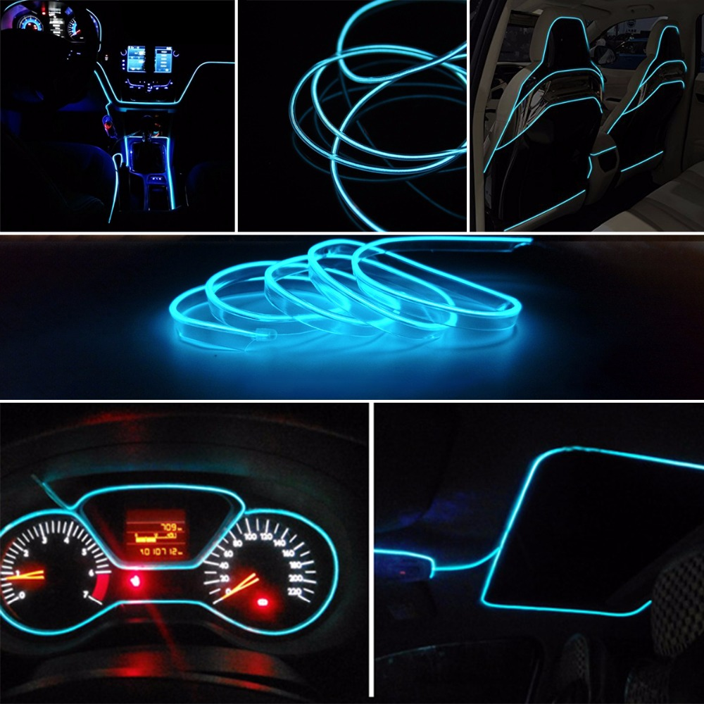 5 Mt Ice Blue Neon Licht Neon Draht Lampe Flexible EL Draht auto ...
