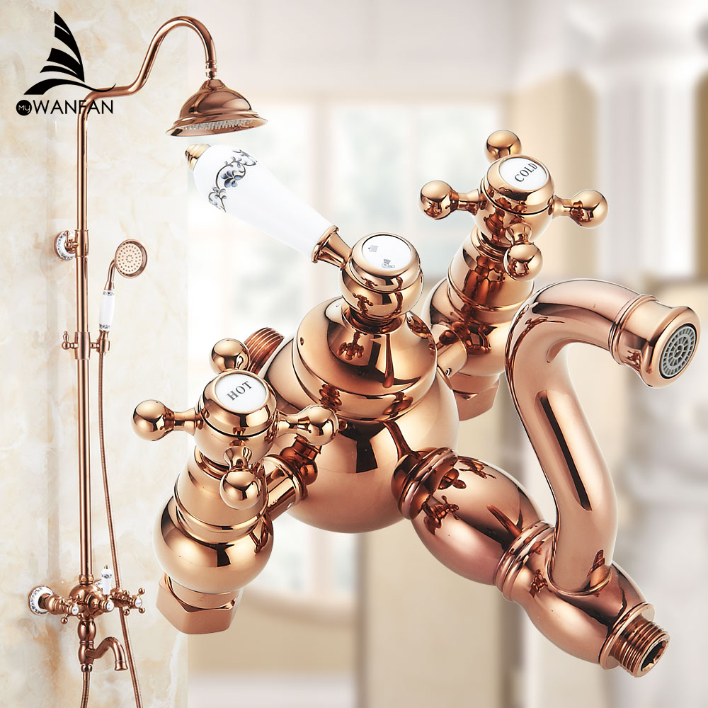 Shower Faucets Brass Luxury Rose Gold Wall Bathroom Shower System 8 inch Round Rainfall Head HandHeld Bathtub Mixer Tap WF-18048 shower faucets brass chrome thermostatic bathroom wall bathtub faucet rain shower head handheld square mixer tap sets jm 625l