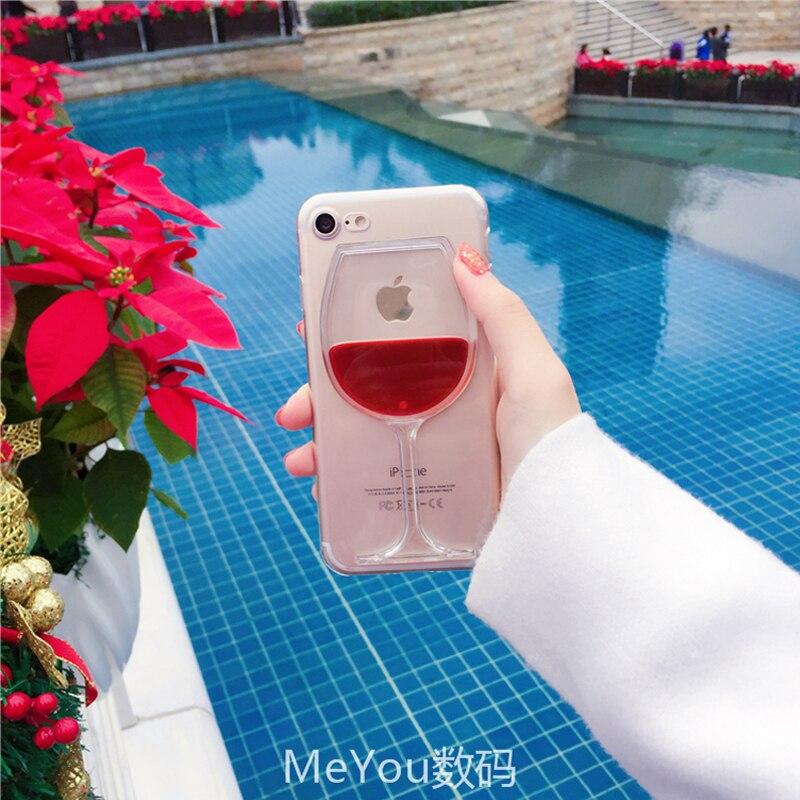 Verre à vin rouge de luxe Chaude Liquide Quicksand Transparent coque téléphone dure revêtement arrière Pour iPhone 5 5 S SE 6 6 S 7 8 Plus X Logement 1