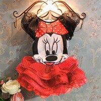 Free Shipping 2015 New Baby Girls Sets Girls Cartoon Minnie Mickey Clothing Set Tshirts Skirt Children