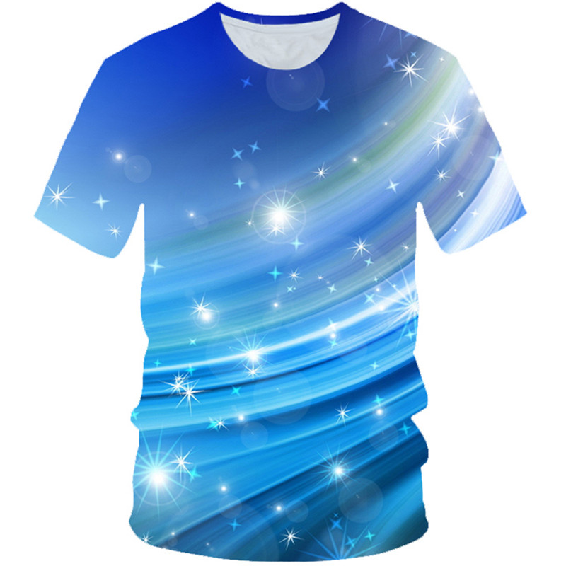 T-Shirt Sky-Color Print Girls Boys Kids Fashion Summer Blue 3D Star 4-20-Years-Old Galaxy