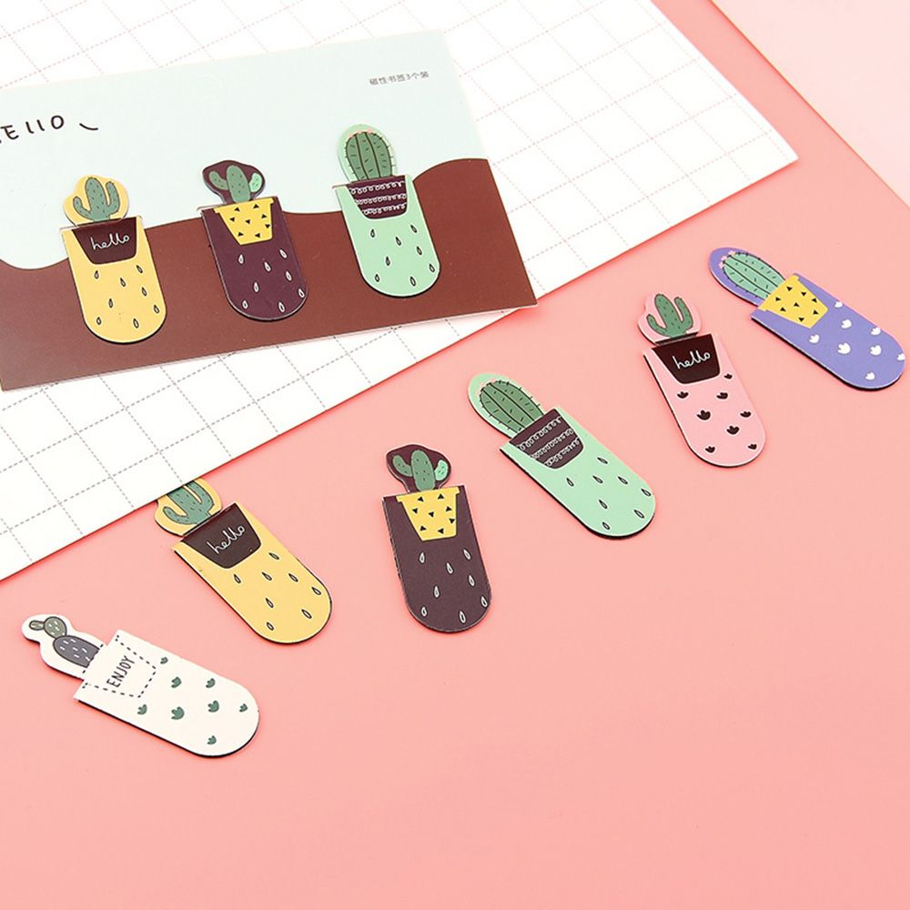 3 Pcs/pack Growing Cactus Magnetic Multi-function Bookmark Paper Pencil Clip  Book Support Book Page Holder School Office Supply