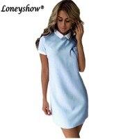 Loneyshow Women Dresses 2017 Fashion Women Turn Down Collar Casual Dress Elegant Short Sleeved Summer Mini