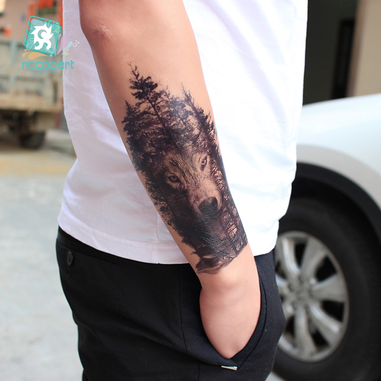 5ed14336a Купить Оптом Rocooart Большой Татуировки Наклейки Волк В Деревья ...