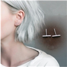 New Fashion Simple Silver Geometric Small Square Triangle Rectangle Round Lightning Stud Earrings For Women