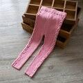 Primavera e no Outono novo estilo Crianças calças leggings meninas calças de lã calças de lã de algodão do bebê de malha stretch calças