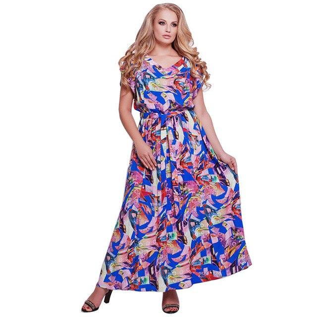 2018 Plus Size L-6XL Fat MM Women Fashion Office Uniforms Ladies Short  Casual Printing Party V-Neck Dress 3 Colours JTZBD0961 9cdacd70bcb1