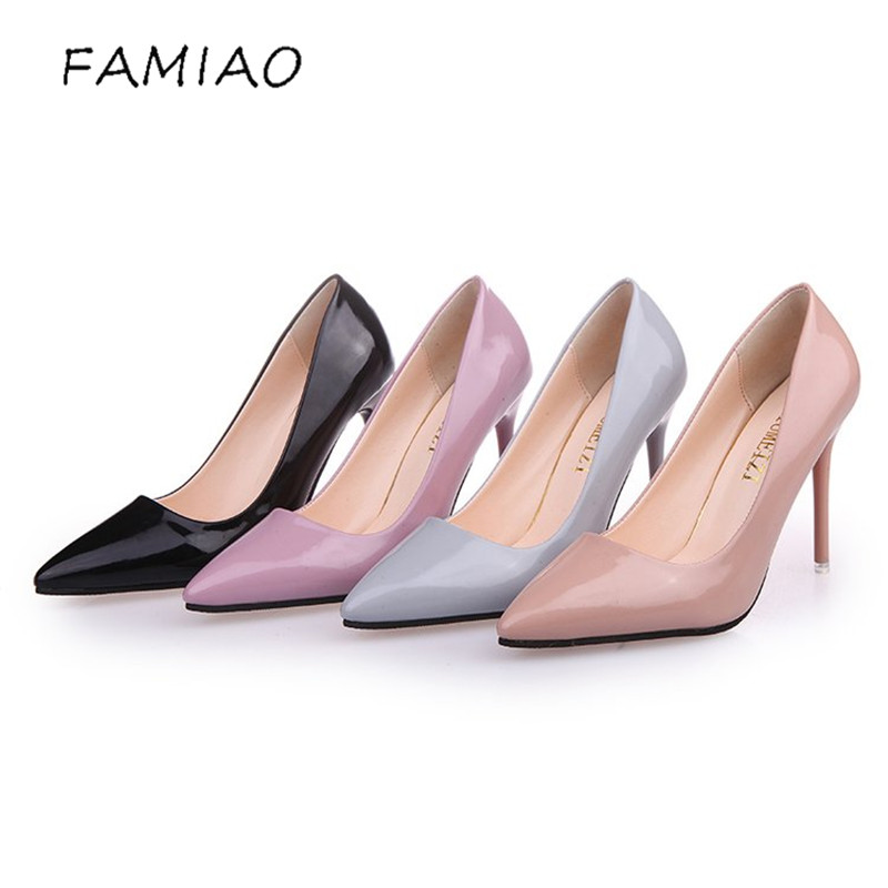 FAMIAO Women High Heels Shoes Pumps 10.5cm Black Stilettos Heels Sexy Pointed Toe White Pumps Nude Heels for Women Shoes Ladies famiao hot women pumps ladies sexy pointed toe high heels fashion wedding pumps buckle studded stiletto high heel sandals shoes