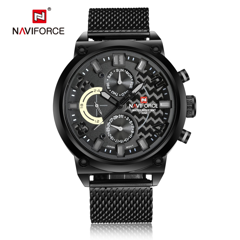 Luxury Brand Quartz Watch Men Casual Sport Watches Fashion Steel Strap Military Waterproof Wristwatch NAVIFORCE Men Clock LX50 men sport watch naviforce luxury brand men military quartz watches fashion casual leather strap auto date 30m waterproof watches