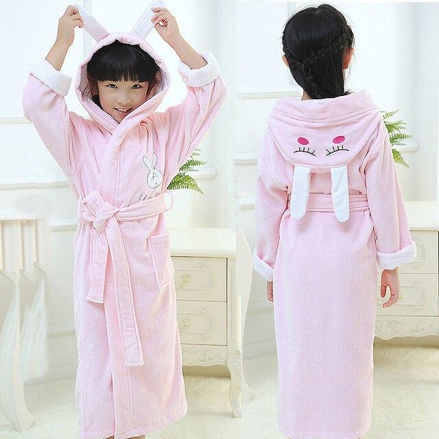 Дети халат хлопок зима полотенце материал мультфильм мальчики и девочки купание ванна халаты