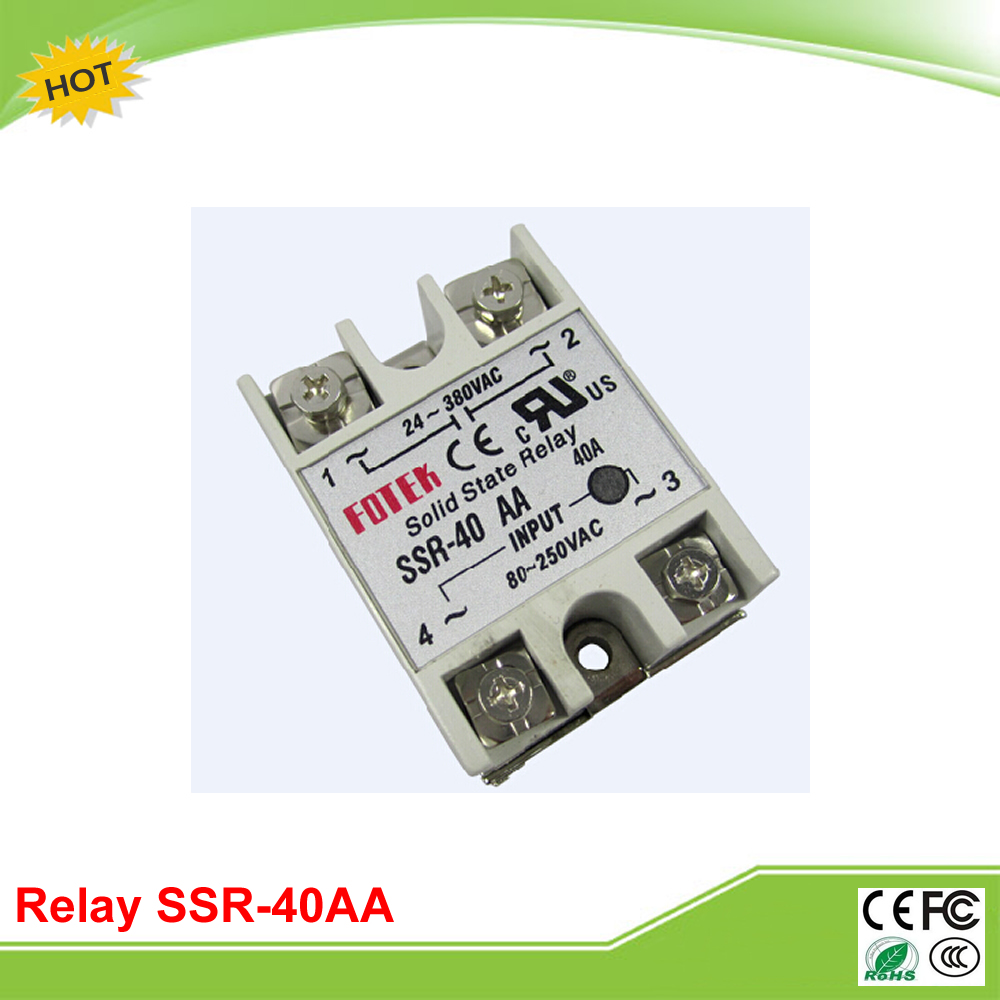 SSR-40AA FOTEK solid state relay single-phase AC control communication 220V normally open single phase solid state relay ssr mgr 1 a4840 40a ac ac control voltage 70 280v ac