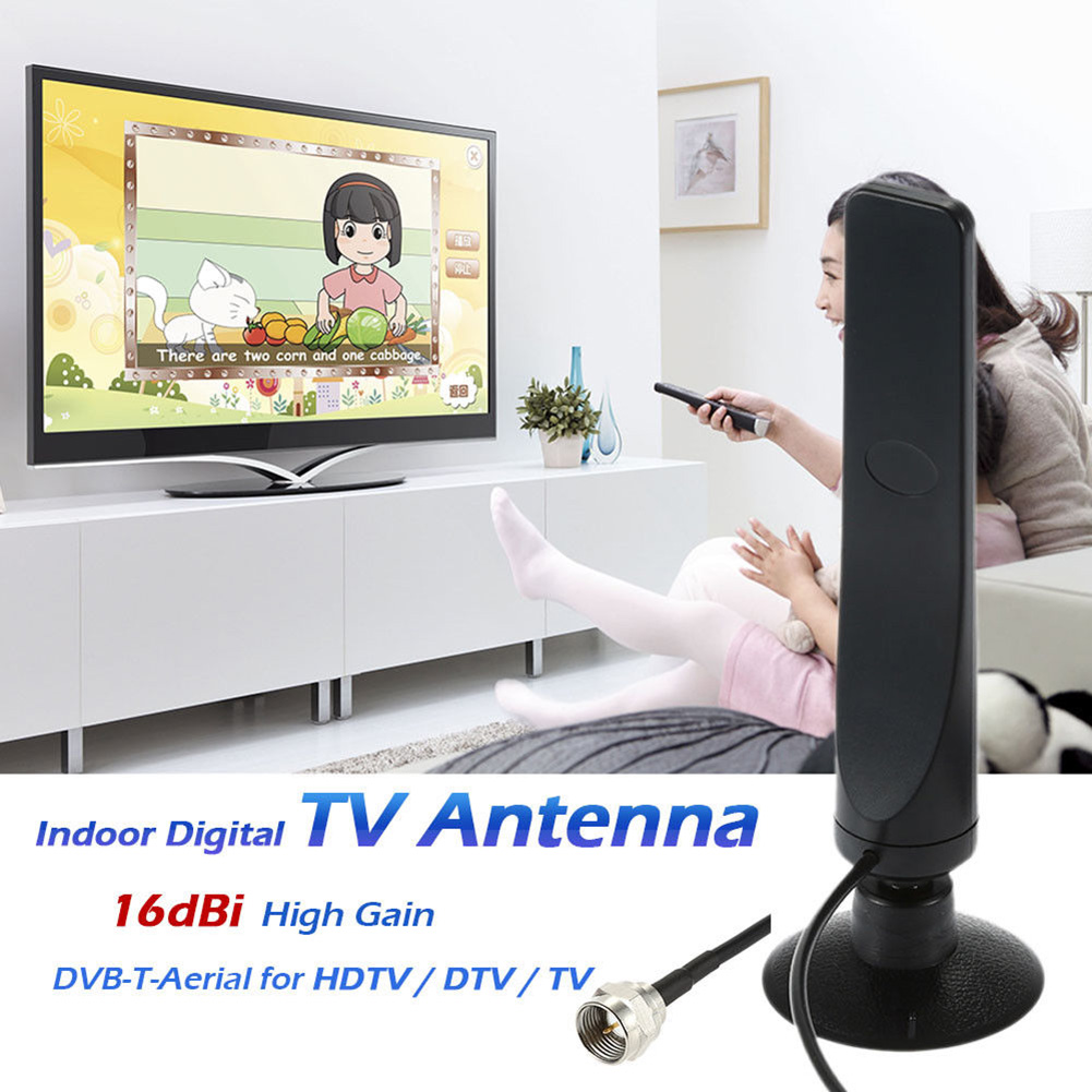 Innen Digitale <font><b>TV</b></font> Antenne 16dBi High Gain FHD 1080p VHF UHF DVB-T für DVD <font><b>TV</b></font> F1Q9 GDeals image