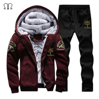 New Winter Men Set Fashion Brand Fleece Lined Thick Tracksuit Pants Male Spring Warm Hooded Sporting