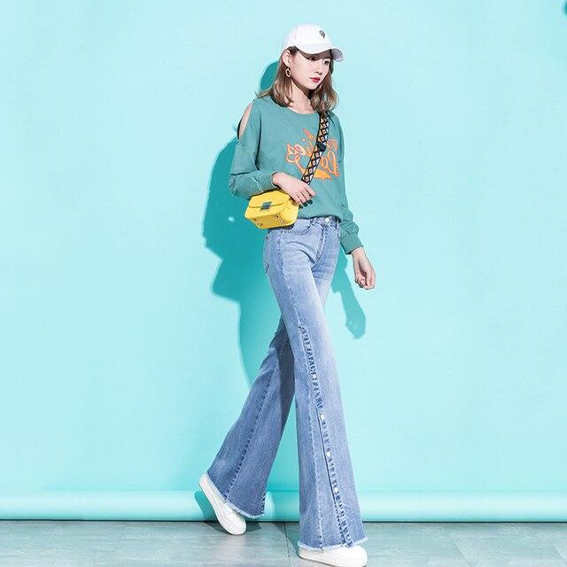 Bell Bottom Jeans Women High Waist Denim Wide Leg Jeans Frayed Edge Fashion Streetwear High Street Palazzo Flare Jeans Trousers 3