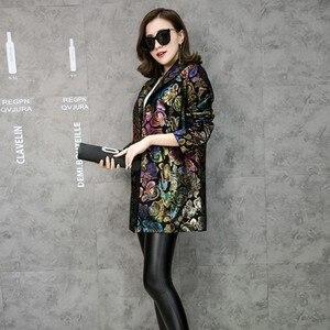 Image 3 - Ücretsiz kargo renkli çiçek baskı hakiki deri trençkot gerçek kuzu derisi deri palto moda uzun giyim artı boyutu