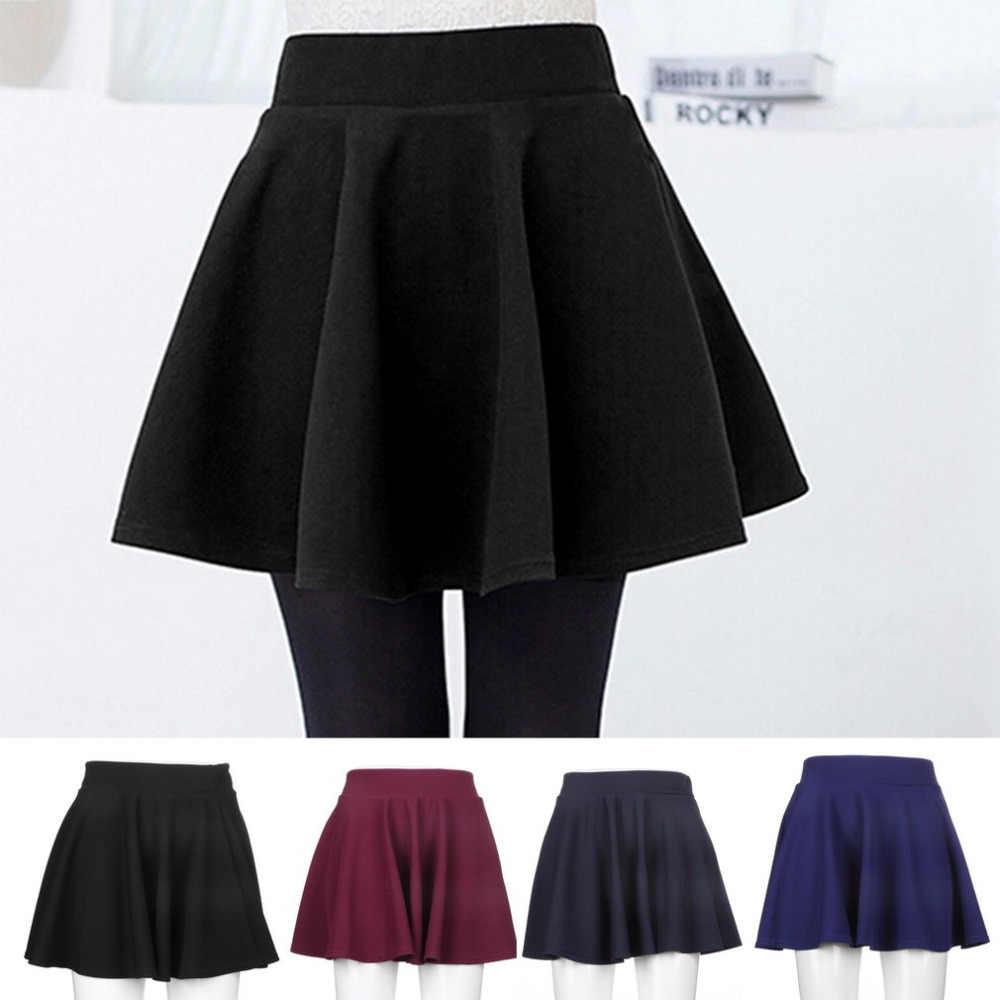 ab2430b0a2d8 Mini Short Skirt Women's Stretch Waist Fashion Unique Cotton Blend Female  Flared Pleated Plain Skater High