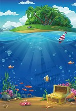 Laeacco Baby Cartoon Sea Underwater Fish Coral Shell Treasure Island Wallpaper Photography Background Photo Backdop Studio
