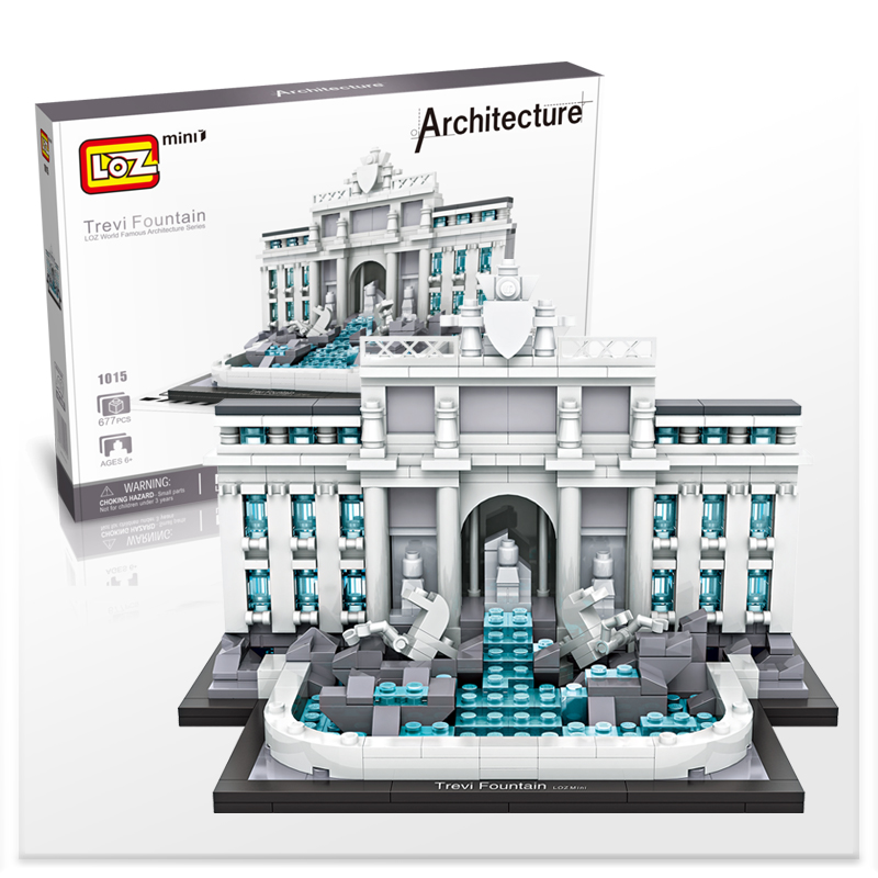LOZ Trevi Fountain Castle The World Famous Architecture Model Mini Building Blocks 677Pcs Guggenheim Museum The White House loz mini diamond building block world famous architecture nanoblock easter island moai portrait stone model educational toys