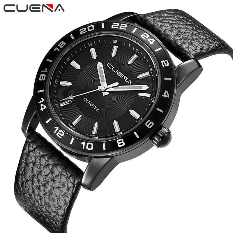 CUENA Brand Men Quartz Watch Black Genuine Leather Fashion Wristwatches Clock 30M Waterproof Relogio Masculino Mens Watches 6603 цена и фото