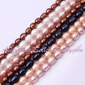 """Free Shipping 7-8mm Natural Oval Freshwater Pearl Gem Stone For DIY Necklace Bracelet Jewelry Making Spacer Beads 14"""" / Lot"""