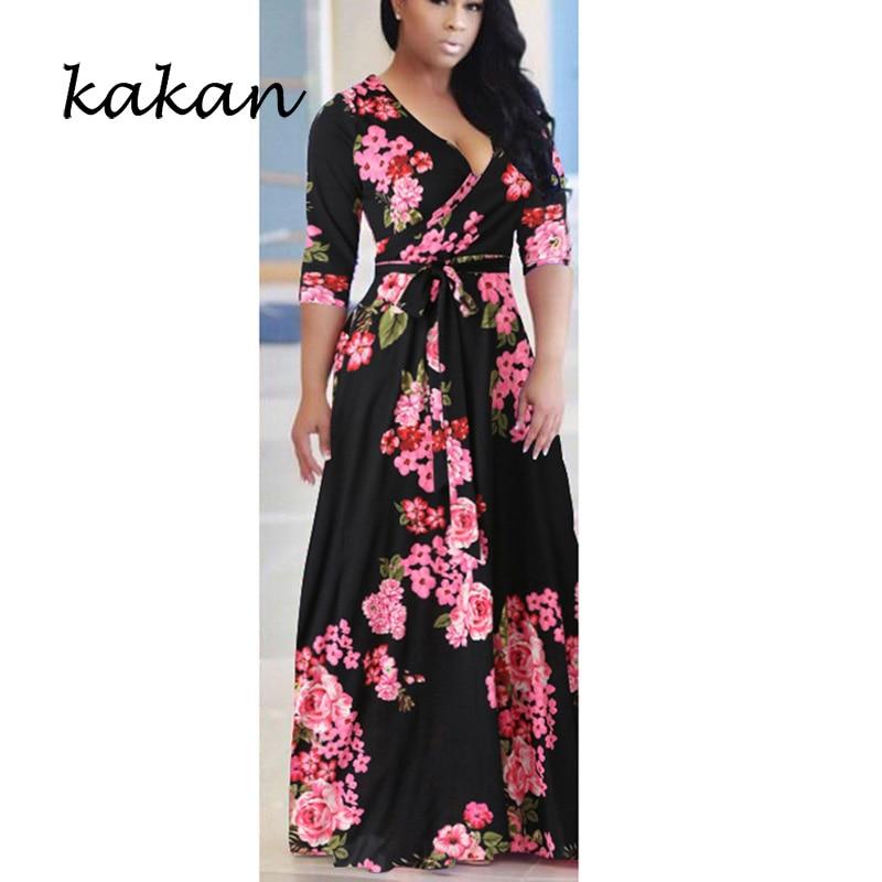 Kakan deep V neck print large swing dress loose large size dress autumn new elastic waist women dress S 3XL 5XL in Dresses from Women 39 s Clothing