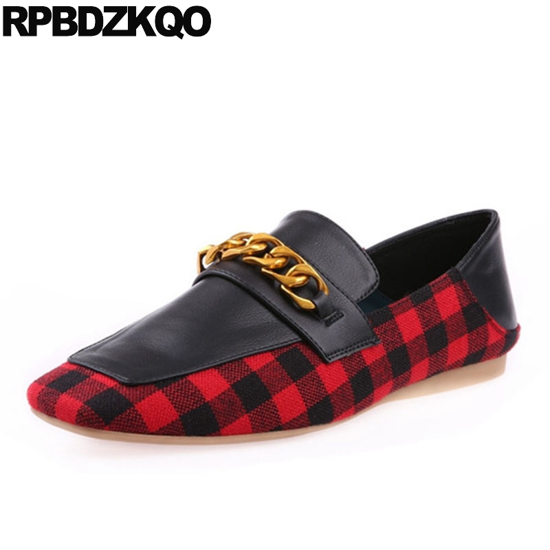 Plaid China Fashion Slip On Spring Autumn Square Toe Ladies Beautiful Flats Shoes Red Suede Women Embellished Metal European comfy fitness ladies beautiful flats shoes spring autumn women size 34 korean china black slip on sneakers casual footwear