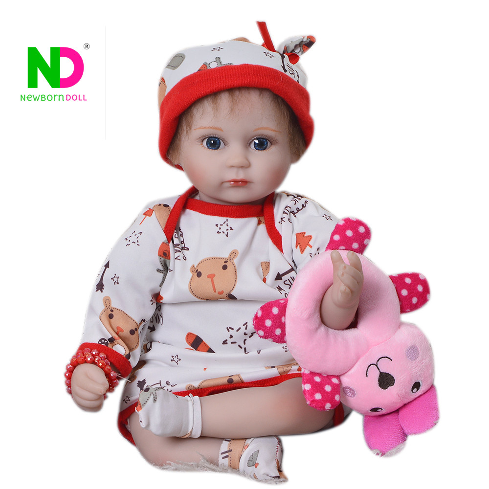 Hot Sale 43 cm Reborn Baby Doll Soft Silicone Vinyl Dolls Reborn Princess Toy Cloth Body For Cute Children 2018 Playmates Gifts