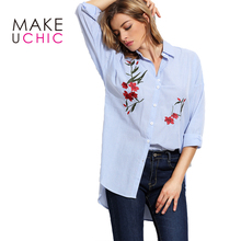 MAKEUCHIC Apparel Striped Women Shirt Floral Embroidered Casual Long Sleeve Female Blouse Streetwear Loose Ladies Shirts
