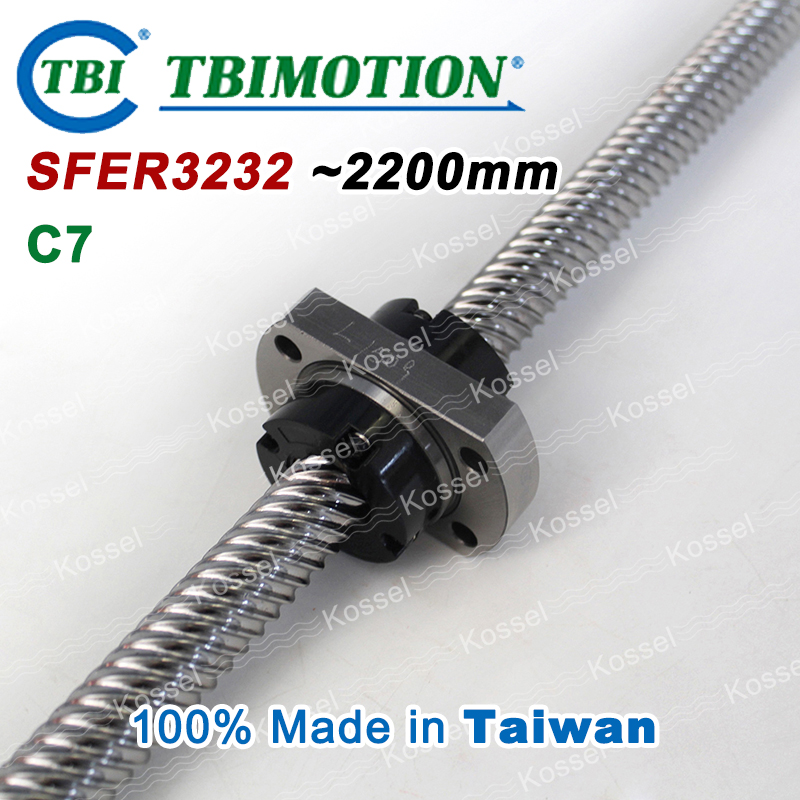 TBI ROLLED BallScrew 3232 SFE3232 SFER3264T2D-F-C7 length 2200mm 2 rows steel ball nut горелка tbi sb 360 blackesg 3 м