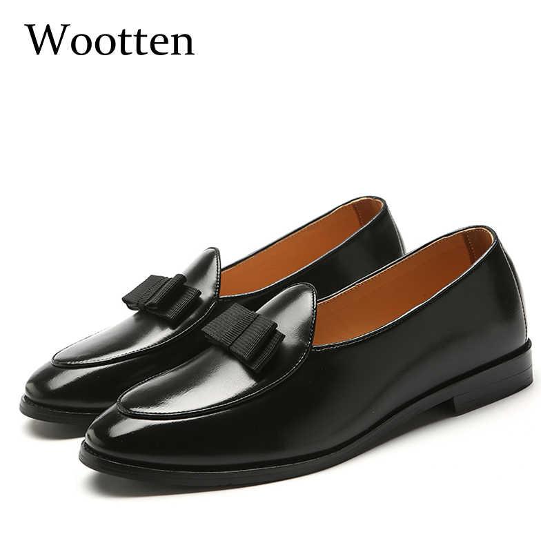 Большие размеры Мужская обувь повседневная кожаная модной социальной  взрослых платье Мода вождения роскошные мужские мокасины   e9b573596d9