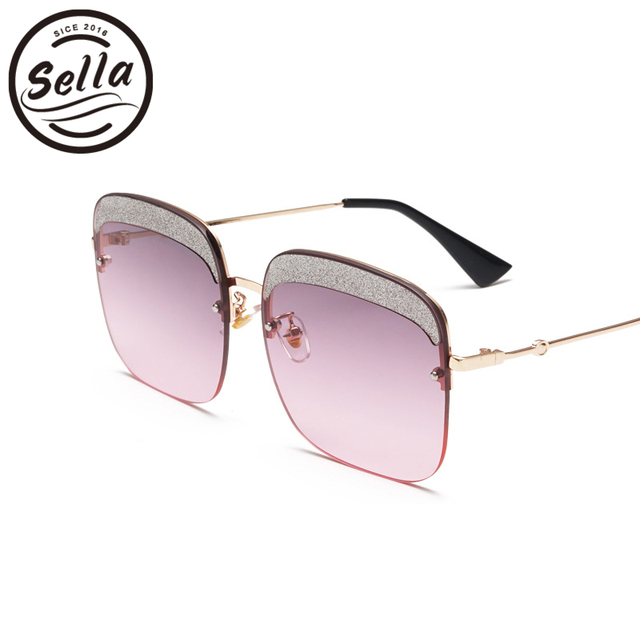 991a3d6b80 Sella Women Oversized Sunglasses Brand Designer Fashion Ladies Gradient Lens  Rimless Square Glitter Eyeblow Sun Glasses