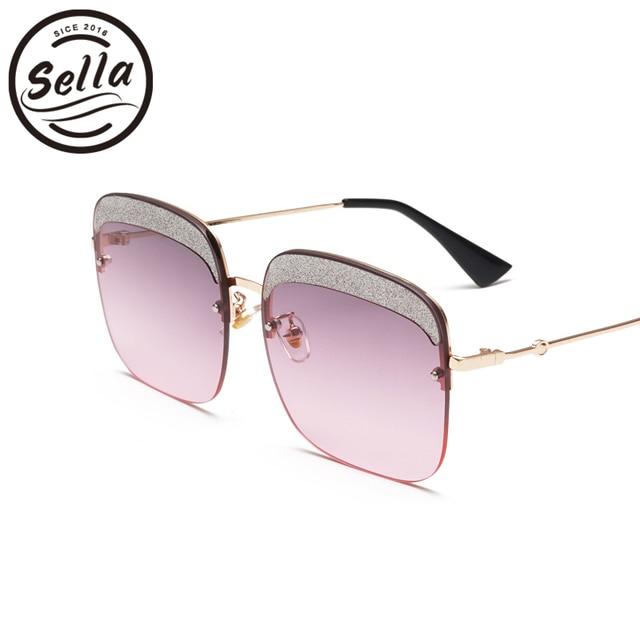 26d47dc2ee6 Sella Women Oversized Sunglasses Brand Designer Fashion Ladies Gradient Lens  Rimless Square Glitter Eyeblow Sun Glasses